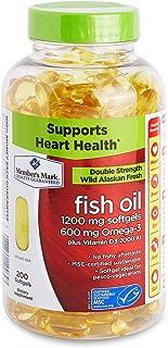Member's Mark Enteric Double Strength Fish Oil 1200mg Softgels 600mg Omega-3 EPA DHA Plus Vitamin D3 2000 Iu (1 Bottle (20...