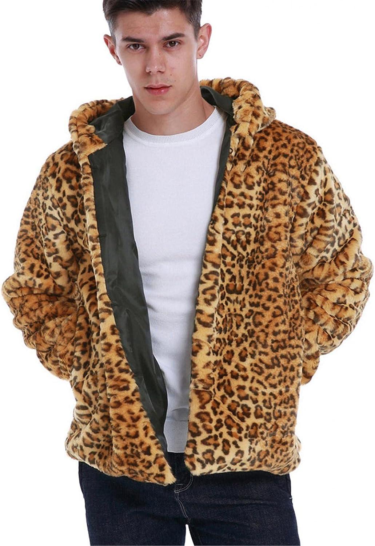 LEIYAN Mens Imitation Fur Hooded Jackets Casual Long Sleeve Zip Up Sherpa Leopard Coat Winter Warm Coat