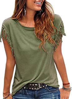 Kimiee Women's Casual Short Sleeve T Shirt Tassels Sleeves Blouse