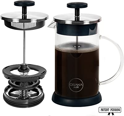 Osaka French Press Coffee and Tea Maker – Patent-Pending, Vacuum Insulated Stainless Steel Mesh Filter with Over-Extraction Prevention & Thermal Shock Proof Glass, Large 8 Cup (1 Liter,34oz) (Silver)