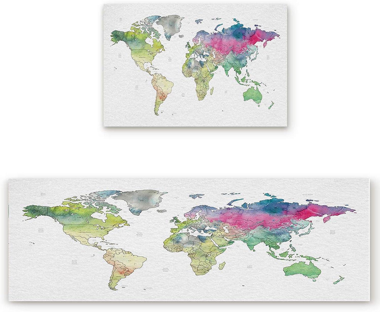 KAROLA 2 Piece Kitchen Mat Non-Slip Doormat Bathroom Runner Rug Set - Map Watercolor Style 23.6 x35.4 +23.6 x70.9