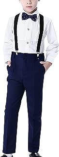 Boys 4 Piece Suit Set with Suspender Shirt Pant Bowtie Formal Dresswear