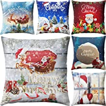 Xmas Throw Pillow Covers Decoration Cotton Lined Square Cushion Cover Red Home Sofa Bed Decor Pillow Cases, 18 x 18 Inch, Set of 6
