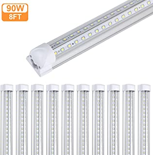 10Pack 8Ft LED Shop Light Fixture,90W 10000 Lumens 5000K Daylight White, Clear Cover,V Shape T8 Integrated 8 Foot Led Tube Light for Cooler,Garage,Warehouse,Plug and Play