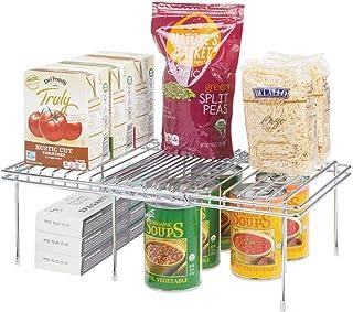 mDesign Juego de 2 Accesorios para Interiores de armarios de Cocina – Práctica balda Extensible de Metal para Ampliar el Espacio – Estante para Platos Antideslizante – Plateado