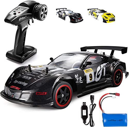 TEMI Remote Control Car1:10 Scale Large RC Cars 65+ kmh High Speed for Adults Boys Kid, Extra Shell 4WD 2.4GHz RC Sport Racing Drift Car, Full-Proportional Throttle and Angle FineTuning(Black-Yellow)