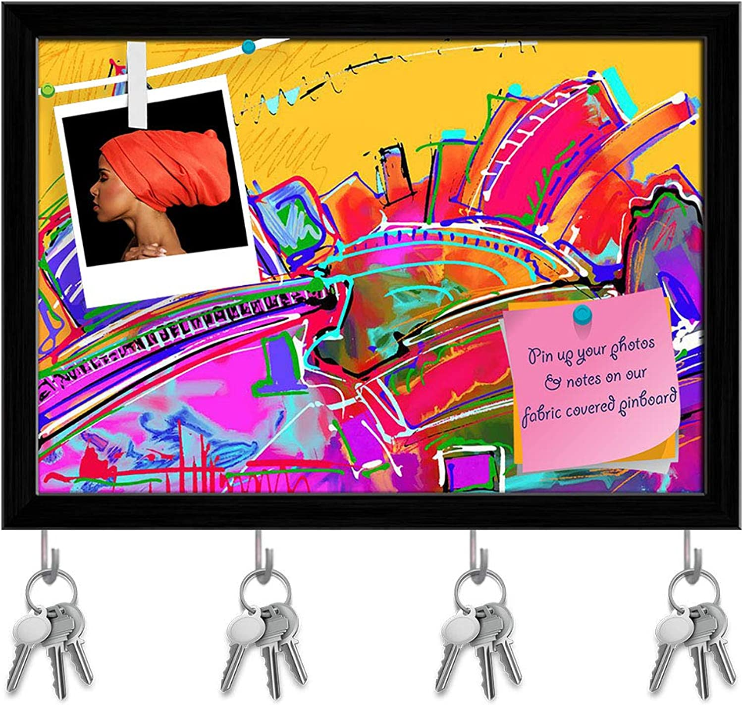Artzfolio Abstract Artwork D226 Key Holder Hooks   Notice Pin Board   Black Frame 17.1 X 12Inch