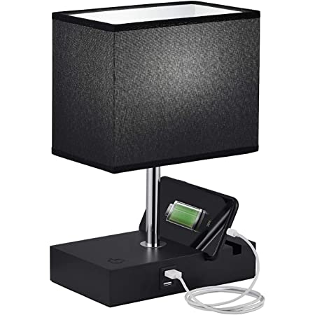 Touch Control USB Table Lamp, Seealle Dimmable Black USB Bedroom Nightstand Touch Lamp with 2 Fast Charging USB Ports, Phone Stand for Living Room, Dinning Room (Bulb Included)