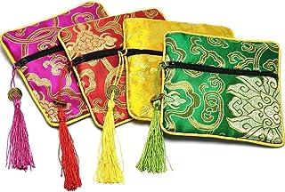 BETOY Juego de Brocado de Seda China, 4 Brocado Moneda Monedero Bordado Bolsa Joyas Bolsa