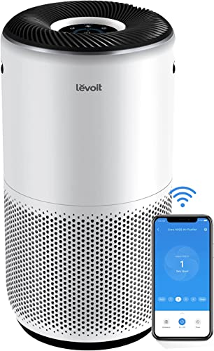 LEVOIT Air Purifiers for Home Large Room Smart WiFi and Alexa Control H13 True HEPA Filter for Allergies Pets Smoke Dust in Bedroom Auto Mode Monitor Air Quality with PM2.5 Display Core 400S