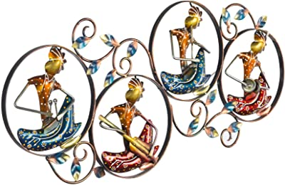 Collectible India Metal Wall Hanging Decor, Tribal Art Wall Mounted Sculpture Playing Musician Lady Frame Arts Home Office Restaurant Decor(Size 30 x 14 Inches, Multi-Color)