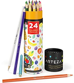 Arteza Kids Scented Colored Pencils, Set of 24 Easy-to-Grip Pencil Crayons, Triangular Shape, Pre-Sharpened, Art and Schoo...