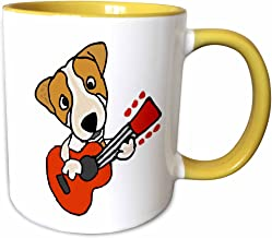 3dRose 256479_8 Funny Cute Jack Russell Terrier Puppy Dog Playing Guitar Mug 11 oz