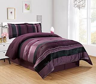 4 Piece Eggplant Purple/Black/Silver Stripe Oversize Chenille Comforter Set 106