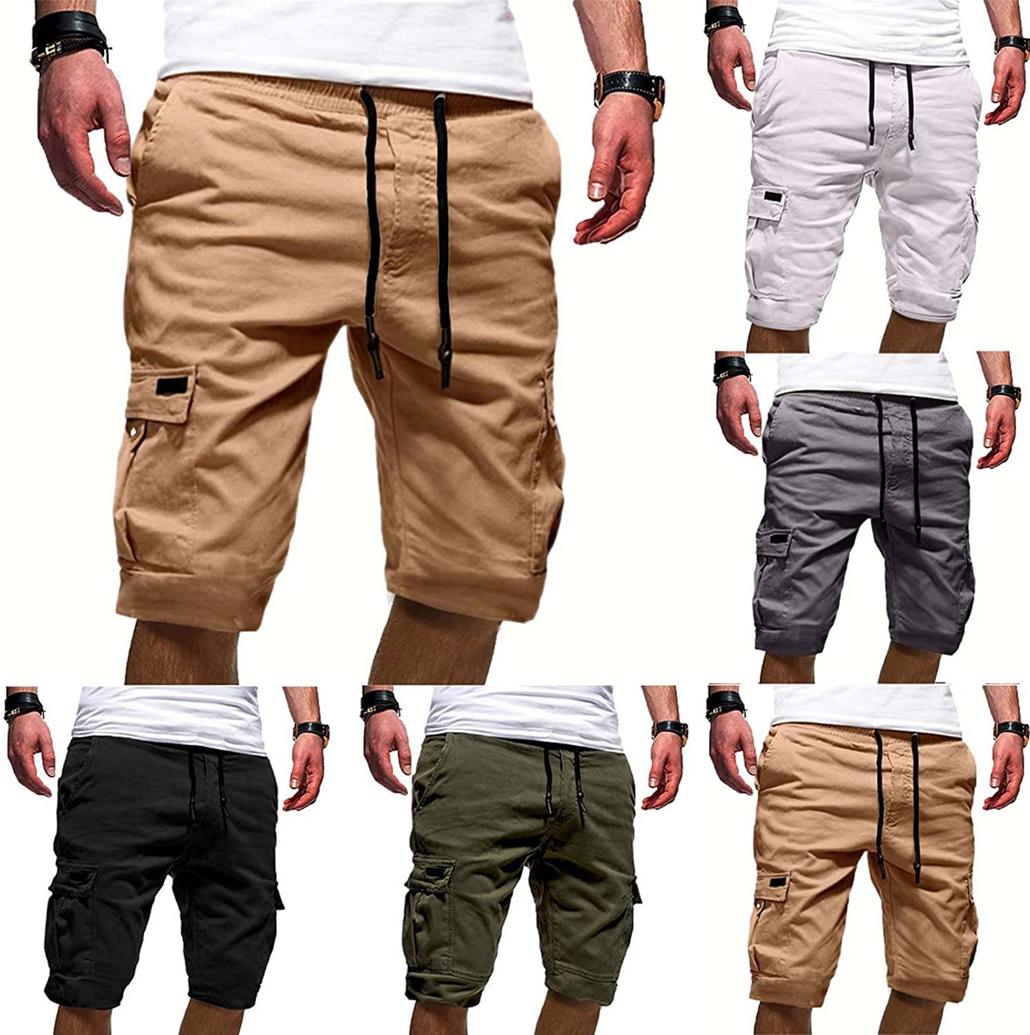 NP Casual Shorts for Man Men's Sport Color Bandage Casual Loose