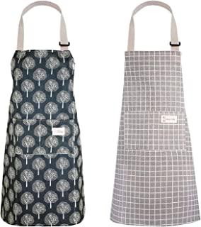 2 PCS Women Aprons Waterproof Cooking Apron Cotton Linen Kitchen Aprons Chefs Barbecue Aprons Adjustable Bib Apron Wipe Cl...