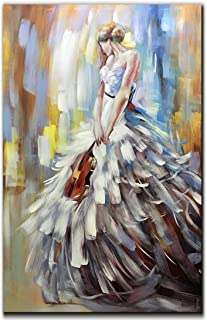 V-inspire Art, 32x48 Inch Modern Abstract Artwork Violin Girl 100% Hand-Painted Oil Paintings on Canvas Wall Art Home Wall Décor Stretched Frame Ready to Hang
