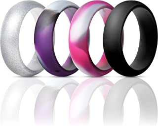 ThunderFit Silicone Rings Wedding Bands for Women 4 Pack - 5.5mm Wide - 2mm Thick
