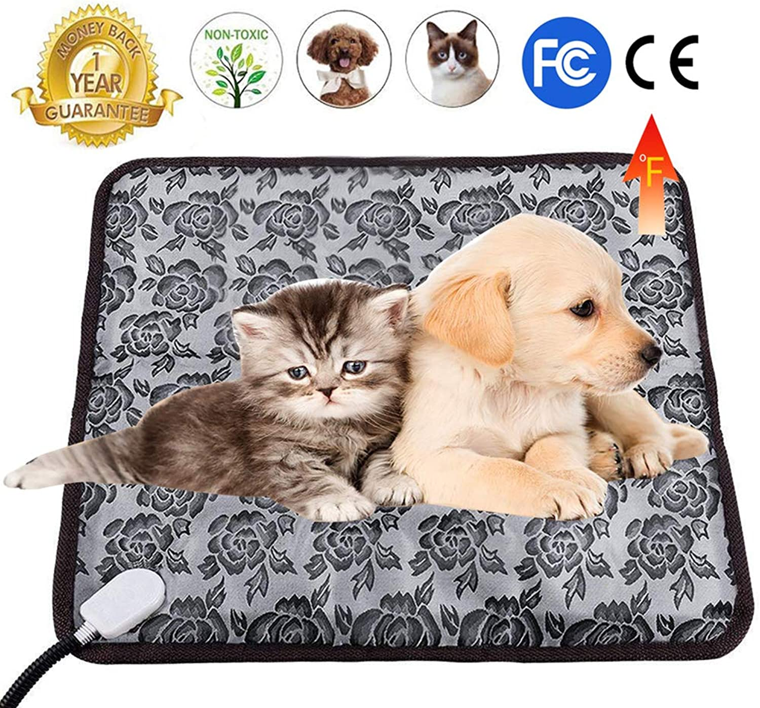 Lmeison Pet Heating Pad, Water Resistant Dog Cat Electric Heating Pad Indoor Adjustable Warming Mat with Chew Resistant Steel Cord