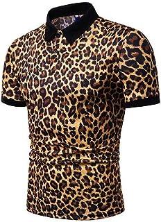 FSSE Men Slim Short Sleeve Summer Leopard Print Golf Polo Shirt Tee Top