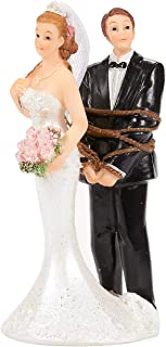 Juvale Wedding Cake Topper - Bride Tied up Groom Figurines - Fun Wedding Couple Figures Decorations Gifts -2.6 x 4.6 x 2.3 inches