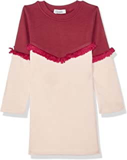 Giggles Two-Tone Fringes Long Sleeves Round Neck Dress for Girls