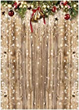 Funnytree 5x7ft Christmas Wooden Wall Photography Backdrop Glitter Bokeh Snow Winter Merry Xmas Party Background Rustic Wood Baby Shower Kids Birthday Portrait Banner Decor Photo Booth Studio