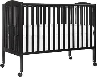 Dream On Me Full Size 2 in 1 Folding Stationary Side Crib, Black