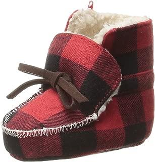 Mud Pie Baby Boys' Buffalo Check Flannel Sherpa Booties