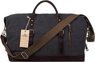S-ZONE Oversized Canvas Genuine Leather Trim Travel Tote Duffel Shoulder Handbag Weekend Bag (Dark Gray)
