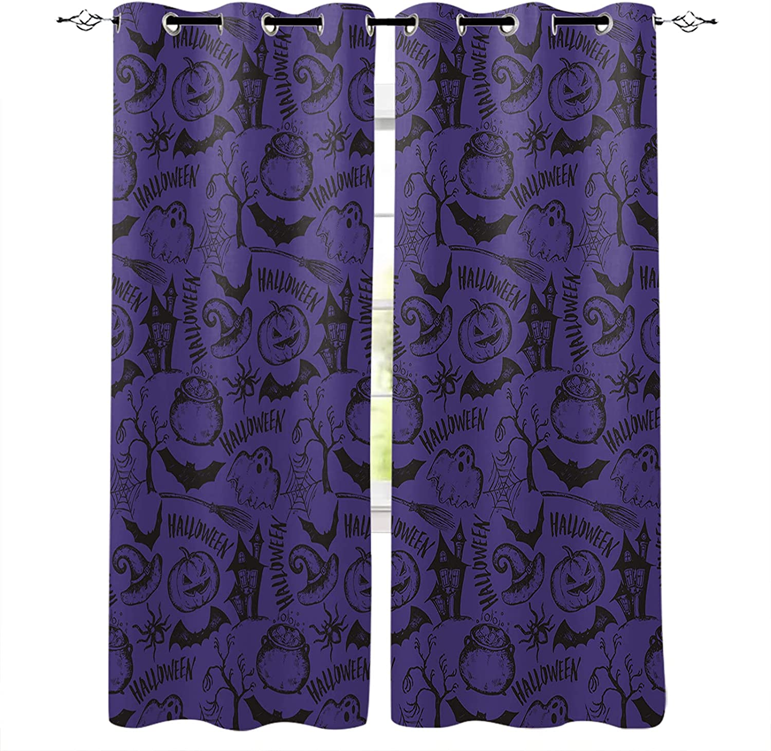 Window Curtain Drapes Purple Halloween Large special price !! Element New mail order I Thermal Cartoon