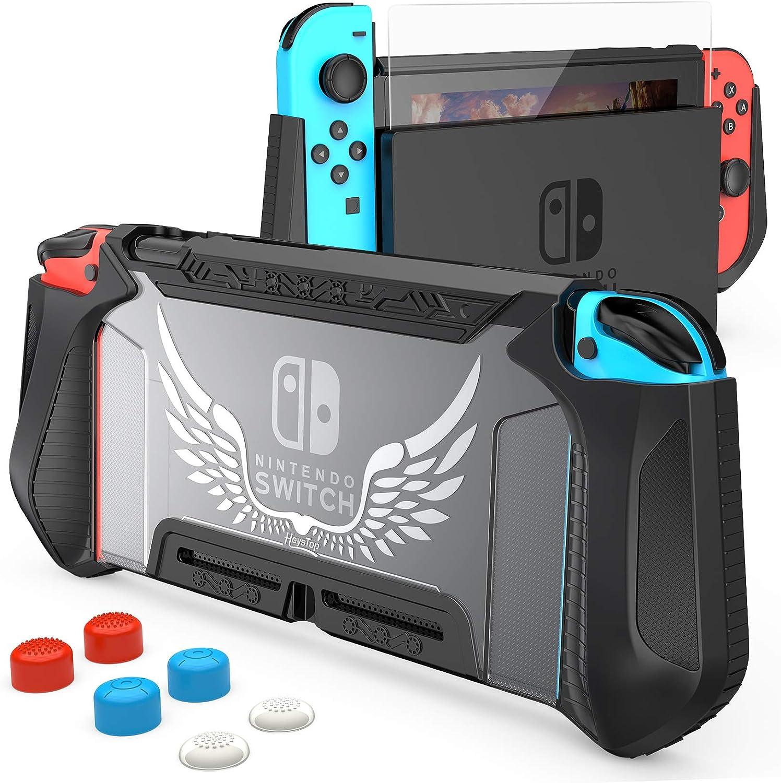 Funda y protector de pantalla para Nintendo Switch (Negro)