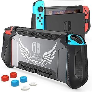 HEYSTOP Carcasa Compatible con Nintendo Switch, Funda Nintendo Switch con Protectora TPU Grip Funda de Agarre Compatible c...