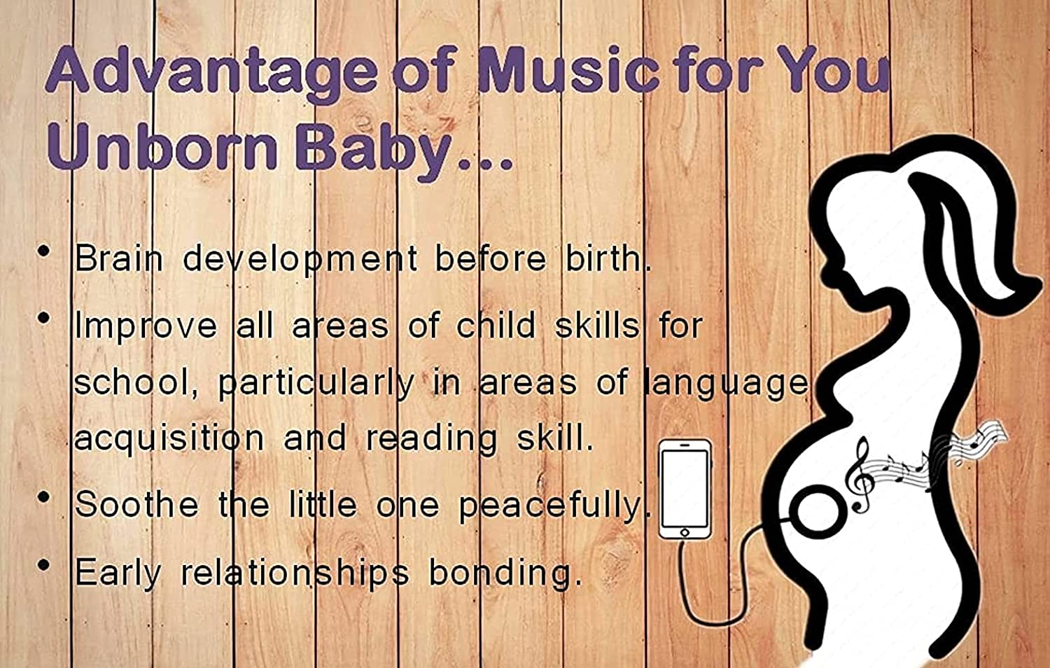 Beauty HAO Pregnancy Headphones for Belly, Baby Bump Headphones Speaker, Plays Music to Baby Inside The Womb, Perfect Baby Shower Pregnancy Gifts