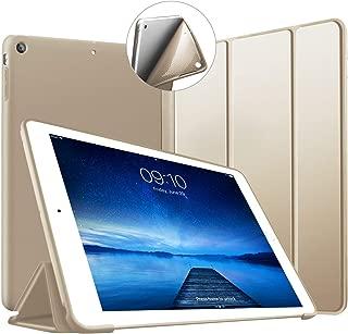 iPad Air ケース (第1世代) ソフトカバー オートスリープ機能 PUレザーカバー 三つ折りスタンド スタンド機能 衝撃吸収 全面保護 2013年発売のiPad Air専用-ゴールド