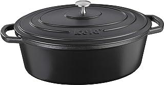 Kela 12473 rostare med lock, gjutjärn, emaljbeläggning, hög värmeförvaring, lämplig för induktion, 6,5 L, svart, oval calido