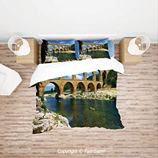 FashSam 4 Piece Bedding Sets Breathable Ancient Roman Heritage Wall Southern France Architectural Historical Landmark for Home(Single)