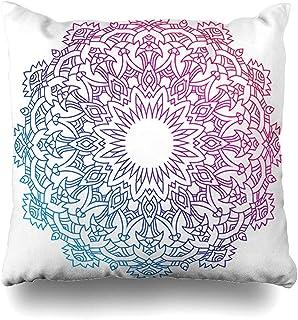 Funda de cojín Art Blue Anti Purple Round Oriental Coloring Abstract Boho Stress Libro árabe Forma de círculo