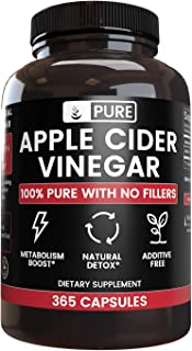 Raw 100% Natural Apple Cider Vinegar No Magnesium Stearate or Rice Fillers (365 Capsules) 4 Month Supply, Non-GMO, Made in...