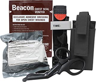 MediTac Gen 2 Deluxe Combo IFAK Kit - Feat. Tourniquet and Holder, Vented Chest Seal, Emergency Hemostatic Control Bandage and Titanium EMS Shears - Black