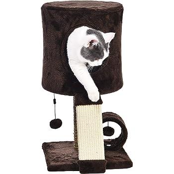 AmazonBasics Cat Tree Tower With Perch Condo - 12 x 12 x 20 Inches, Dark Brown