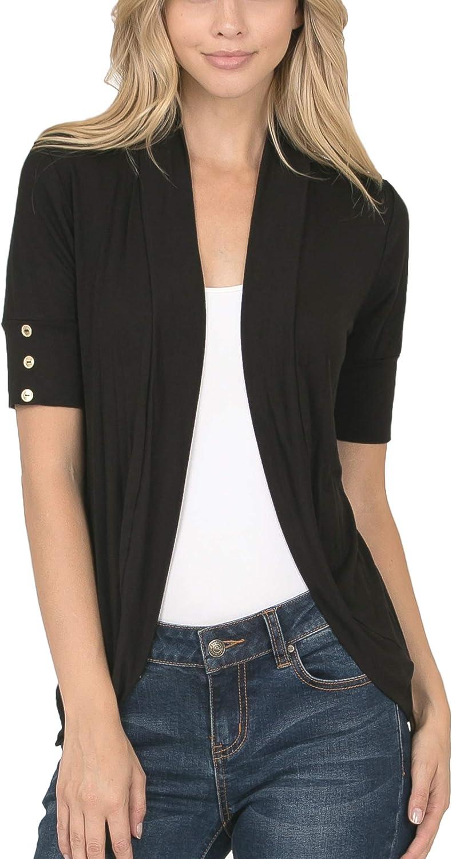 Bubble B Women's Junior Plus Size Front Shawl Collar Solid Cardigan