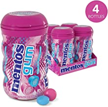 Mentos Sugar-Free Chewing Gum, Bubble Fresh Cotton Candy, Halloween Candy, Bulk, 45 Piece Bottle (Pack of 4)
