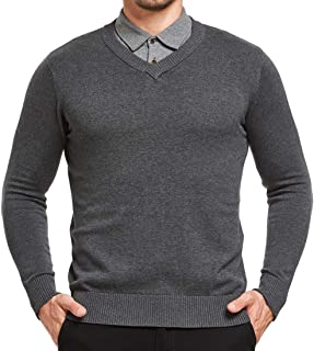 JustSun Mens Jumper Classic Sweater with V-Neck and Long Sleeve