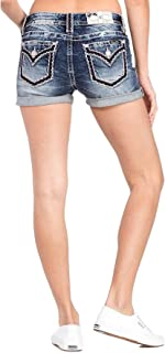 Women's Cuffed Americana Mid-Rise Shorts in Dark Blue