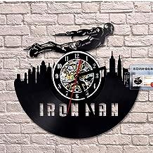 faqddf 2019 Wall Clock Ironman Vinyl Wall Clock Design Watch Hollow 3D Decorative Hanging Vintage Cd Reocrd Clocks Home Decor