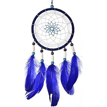 Traumfänger für gute Träume mit Perlen und echten Federn blau Ø 14 cm