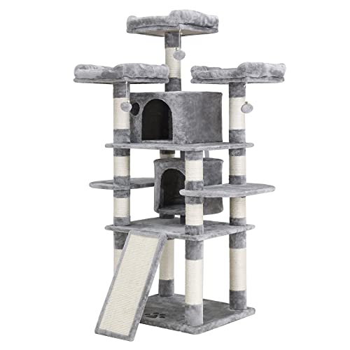 FEANDREA 67 inches Multi-Level Cat Tree for Large Cats, with Cozy Perches, Stable