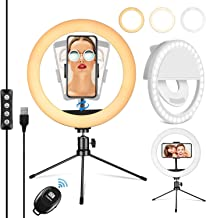 """PEHESHE Ring Selfie LED Light 10"""" with Tripod Stand & Phone Holder Mini Dimmable Circle Light for Live Stream/Tiktok/YouTube/Makeup/Photography/Video 3 Light Modes 10 Brightness Level with Remote"""