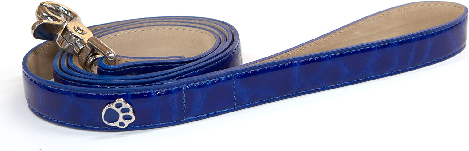 blueemax Italian Synthetic Turtle Shell Print Dog Leash with Paw Stud, 3 4Inch by 4Feet, Royal